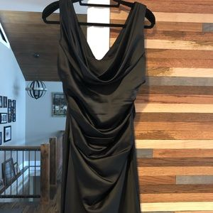 David's bridal black drape neck flattering dress